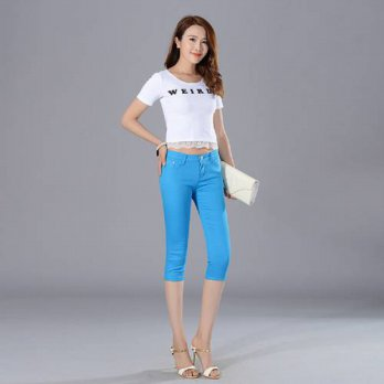 [globalbuy] 2016 Summer Style Women pants capris woman candy color slimming sexy capris pa/4195650