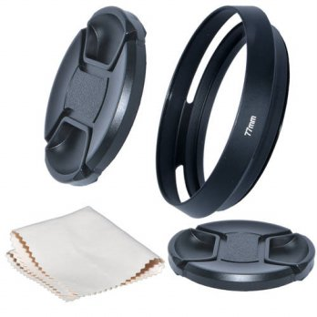[globalbuy] Just Now 77mm Camera Tilted Vented Metal Lens Hood+Cleaning Cloth+2pcs Lens Ca/3686946