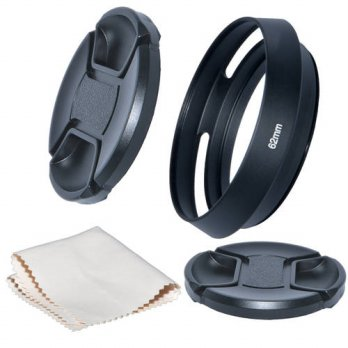[globalbuy] Just Now 62mm Camera Tilted Vented Metal Lens Hood+Cleaning Cloth+2pcs Lens Ca/3686931