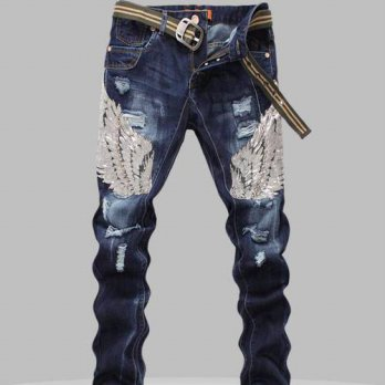 [globalbuy] New Mens Jeans Male Eagle Wings Embroidery Stitching Sequins Hole Jeans Slim P/4201397