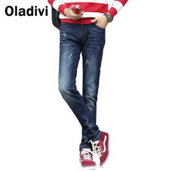 [globalbuy] Plus Size Spring 2016 New Arrival Fashion Men Jeans Casual Washed Denim Blue P/4201382