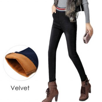 [globalbuy] Warm Jeans for Women Winters Denim Pants Thicken Velvet High Elastic Waist Str/4195594