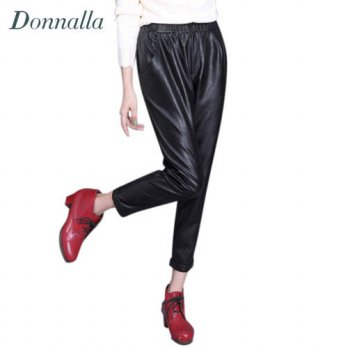 [globalbuy] Women PU Leather Pants Women Fashion Harem Pants Casual Pockets Elastic High W/4195595
