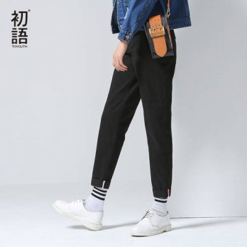 [globalbuy] Toyouth Fashion New Style Women Casual Cotton Full Length Pants Autumn Button /4195592