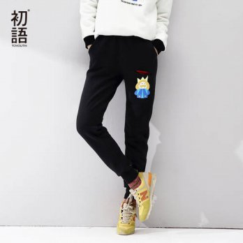 [globalbuy] Toyouth 2016 Autumn New Interesting Printed Casual Pants Girls Loose Sportwear/4195574