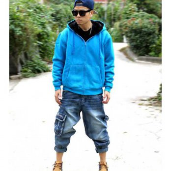 [globalbuy] Male multi-pocket hiphop jeans trousers plus size skateboard pants loose harem/4201340