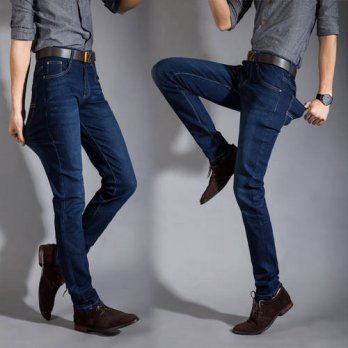 [globalbuy] 2016 New Fashion Spring&summer Skinny Jeans Men Blue Stretch Slim Pants Biker /4201334