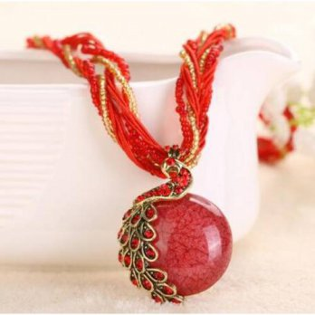 [macyskorea] AC A&C Fashion and Charm Red Peacock Bohemia Necklace for Women. Indian Weave/10131084