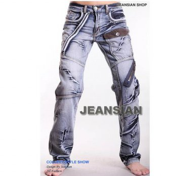 [globalbuy] Zipper spring Straight jeans man pants slim fashion mens denim jeans motorcycl/4201300
