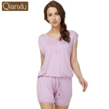[globalbuy] Qianxiu Brand Pajamas Overalls Solid Short sleeve short sleeves Set High-grade/4195536