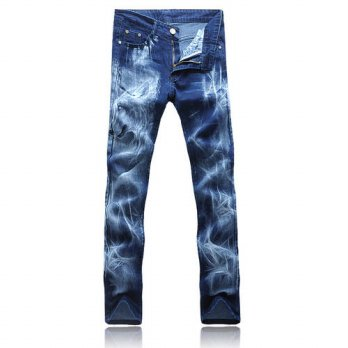 [globalbuy] 2016 new Mens blue printed Jeans, Fashion Denim casual pencil pants Men,jeans /4201276