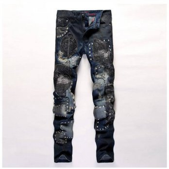 [globalbuy] europen American style designer fashion brand Mens Casual Slim jeans luxury bl/4201272