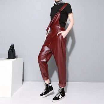 [globalbuy]  2016 autumn fashion new models strap PU leather pants loose wild one-piece tr/4195476
