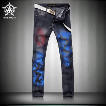 [globalbuy] Fashion Male Black Dragon Print Jeans Shorts Mens Clothing Trend Slim Small Tr/4201240