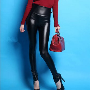 [globalbuy] 2016 autumn women clothing high waist elastic PU leather leggings Female fashi/4195484
