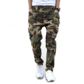 [globalbuy] Camouflage Jeans Mens Long Cross pants Hip Hop Harem Elastic Pants Male Skinny/4201237