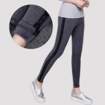 [globalbuy] Plus Thick Velvet leggings winter womens plus lace spliced pants large size 3x/4195458
