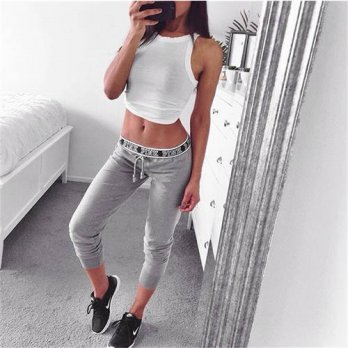 [globalbuy] 2016 Winter Autumn Women Pants Letter Printed Elastic Comfortable Stretch Penc/4195456