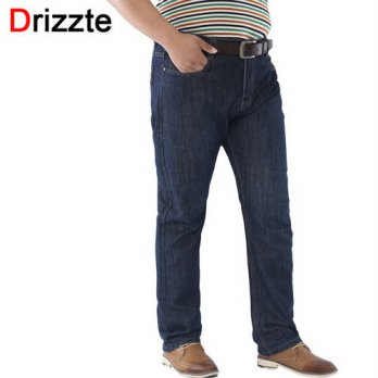 [globalbuy] Drizzte Plus Size 36 40 42 44 46 48 50 52 Mens Blue Denim Jeans Trousers Big L/4201225