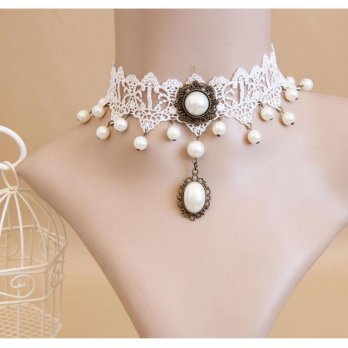Kalung Cantik & Manis Choker A7 Vintage Pearl White Lace Collar