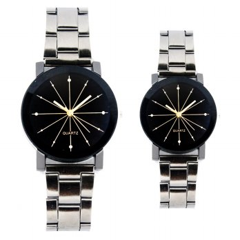 [1+1] Jam Tangan Couple Analog strap Stainsteel FIN -172 CP
