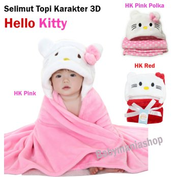 Selimut Bayi / Selimut Topi Hello Kitty Double Fleece / Carter's Hoodie Bulu Bayi Hoddie Blanket