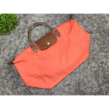 Tas Wanita Import Longchamp Classic Large Short Handle - Orange