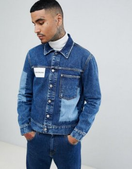 Calvin Klein Jeans denim jacket with logo and cut and sew