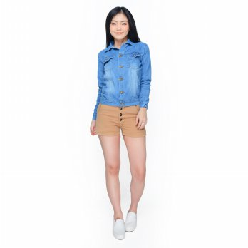 Jaket Jeans denim Washed Tangan panjang Wanita - Jfashion Joyce