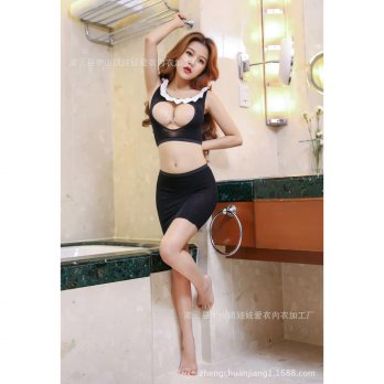 Lingerie Sexy Seksi Costume Kostum Bodystocking Body Stocking Office Lady Hitam SLC - 205 Best Seller