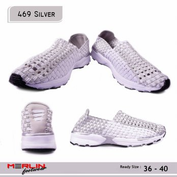 Sepatu Casual Import - Breathable Slip On Shoes - 469 Silver