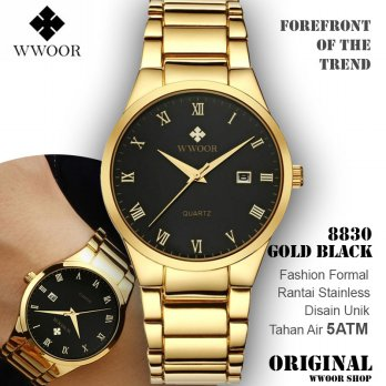 Wwoor 8830 Simple Dan Elegan Gold Black Jam Tangan Pria Rantai Stainless Anti Air Original