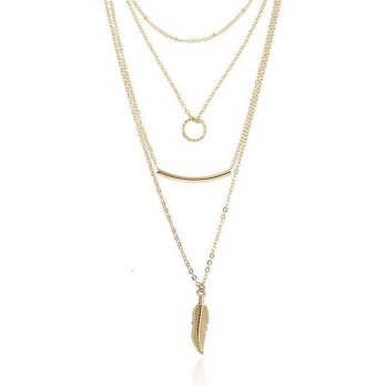 [Wholesale-Acc] KN33359 Kalung Three Layer Leaf Gold