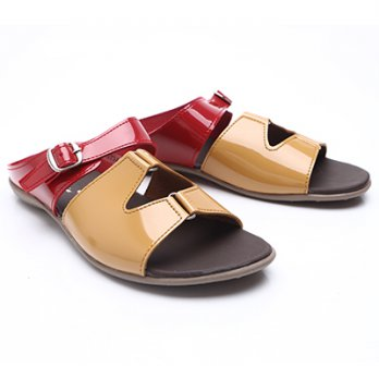 Dr.Kevin Women Flat Sandals Pu Leather 27243 Red / Tan