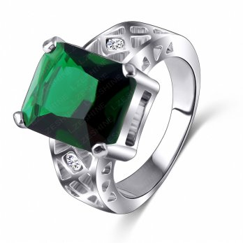 Green Square Crystal Platinum Plated Ring