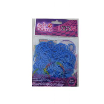 Girlie Girlz TM3229 Jelly Colour Rubber Loom Band & Clip Refill Pack (small) Biru