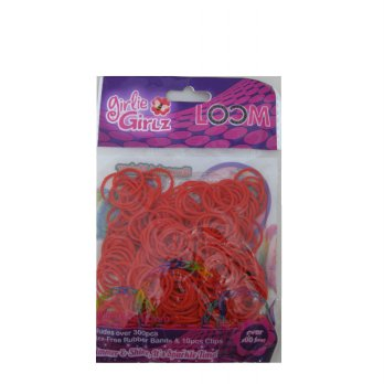Girlie Girlz TM3229 Jelly Colour Rubber Loom Band & Clip Refill Pack (small) Red