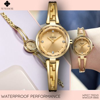 Wwoor 8866 Gold Jam Tangan Wanita Minimalis Fashion Formal Trendy Anti Air