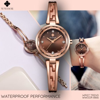 Wwoor 8866 Rose Coffee Jam Tangan Wanita Minimalis Fashion Formal Trendy Anti Air