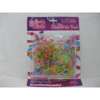Girlie Girlz TM3235 Glow in the Dark Rubber Loom Band, Clip & Beads Refill Pack (large)