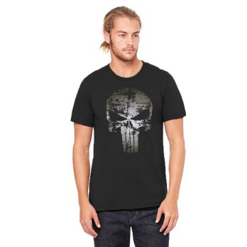Fantasia T-Shirt Pria The Punisher - Hitam
