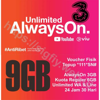 Tri Voucher Paket Data internet AlwaysOn 9GB 24Jam