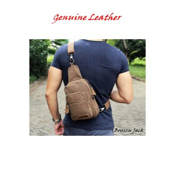 TAS KANVAS SLEMPANG - SLING BAG BOURZU JACK 2 IN 1 Genuine Leather