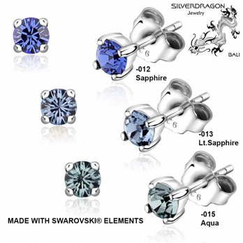 [SILVERDRAGON] 842506-012/013/015 Anting Silver dengan SWAROVSKI® Elements 4mm