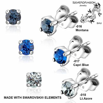 [SILVERDRAGON] 842506-016/017/018 Anting Silver dengan SWAROVSKI® Elements 4mm