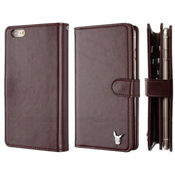 [holiczone] Moncabas iPhone 6 (4.7)Case,[Burgnady] Luxury [Dual Wallet] [Wristlet] Cow Lea/105750