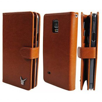 [holiczone] Moncabas Galaxy Note 4 Case, [Brown] Luxury [Dual Wallet] [Wristlet] Cow Leath/321009
