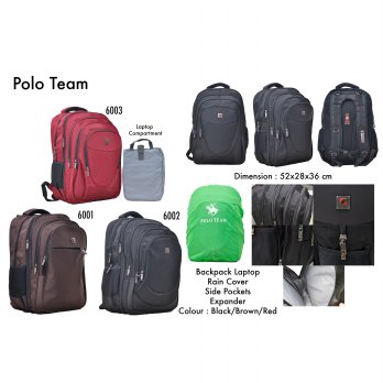 Polo Team Tas Ransel Laptop Besar 600* series + Rain Cover + Laptop Compartment