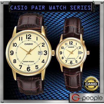 Jam Tangan Couple Casio Couple Original Tali Kulit V002GL-9 Casio Date