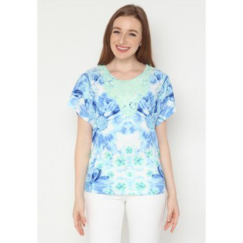 Mobile Power Ladies T-shirt Lace Cherry Blossom - Blue AG20305